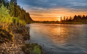 Picture landscape, sunset, river