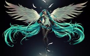 Wallpaper girl, angel, hatsune miku