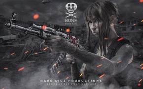 Picture girl, Apocalypse, smoke, skull, spark, tattoo, machine, bones, helicopter, AK-47, workshop, cs go, bone hunter, ...