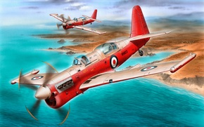 Picture art, airplane, painting, aviation, Fairey Firefly