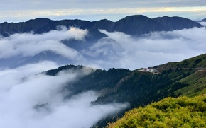 Picture clouds, fog, house, hills, view, height