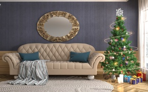 Picture Sofa, New Year, Tree, Interior, Gifts, Garland