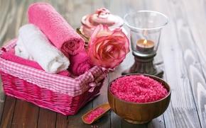 Picture flowers, oil, towel, relax, flowers, Spa, still life, candles, salt, spa, salt, wellness
