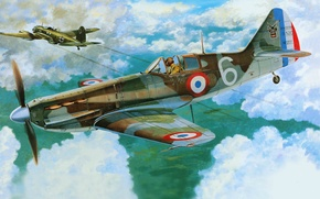 Picture the plane, fighter, art, BBC, France, French, WW2., single, D.520, Dewoitine