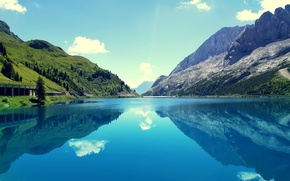 Picture the sky, trees, mountains, lake, reflection, slope