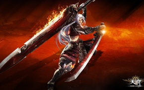 Picture fire, red, flame, sword, game, online, ken, blade, warrior, spark, Revelation Online, silver fox, chinese …