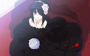 Picture bouquet, black dress, Anime, Date a Live, Tokisaki Kurumi