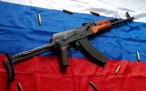 Picture Kalashnikov, tricolor, the flag of Russia