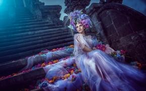 Picture flowers, petals, dress, art, moonlight, the bride, blue moon