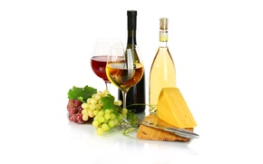 Picture wine, red, white, cheese, glasses, grapes, bottle