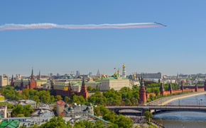 Picture bridge, river, panorama, Moscow, The Kremlin, Russia, aircraft, The Moscow river, May 9, Kremlin embankment, …
