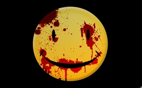 Wallpaper smiley, smile, blood, yellow