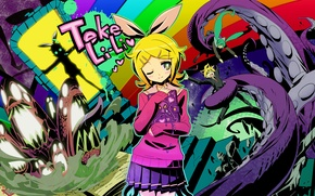 Picture girl, skull, Notepad, guy, vocaloid, bow, Vocaloid, Miku, Len, kagamine Rin