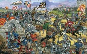 Wallpaper archers, Burgundy, serpentine, 16 Jul 1465, culebrina, crossbowmen, the battle of Montlhéry, soldiers, the gendarmes, ...