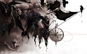 Picture time, surrealism, watch, roses, crows, touch, braid, dial, child, skeletons