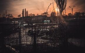 Picture sadness, the sun, sunset, yellow, the city, garbage, dark, dark