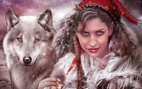 Picture look, girl, wolf