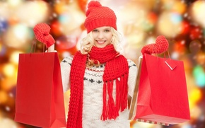 Picture winter, Girl, package, shopping, discounts, sales