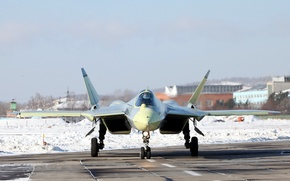 Picture Winter, fighter, Russia, T-50, Aviation, BBC, multipurpose, Dry, PAK FA, On earth