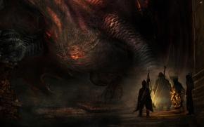 Picture Dark, Game, Dragon's Dogma, The Dragon, Lantern, Arisen, Pawns