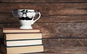 Picture books, coffee, glasses, mug, cup, lips, funny, glasses, cute, books, mustache