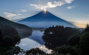 Picture the sun, mountain, the volcano, Japan, Fuji