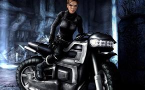 Picture girl, motorcycle, Tomb Raider, Lara Croft, tomb raider