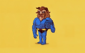 Picture Art, Blue, Wallpaper, Yellow, Beast, Minimalism, Beauty and The Beast, Humor, Alex Solis, Icons Unmasked