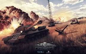 Picture explosions, art, tanks, WoT, World of Tanks, KV-1, Alexander Malkin, Is-3