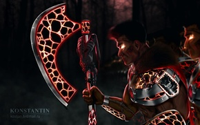 Picture forest, night, armor, warrior, art, axe