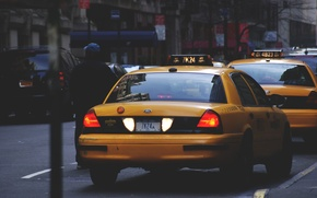 Picture road, machine, movement, street, taxi, yellow