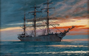 Picture sea, the sky, ship, sailboat, Adolf Bock