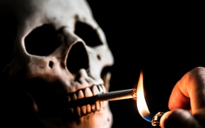 Wallpaper skull, lighter, cigarette