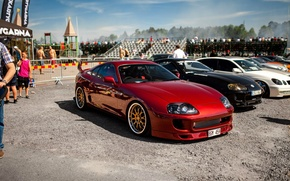 Picture turbo, red, wheels, supra, gold, japan, toyota, jdm, tuning, power, front, race, Toyota, face, supra, …