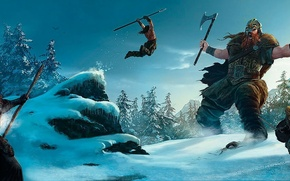 Picture snow, jump, giant, Viking