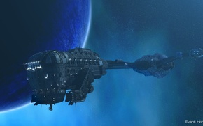 Picture spaceship, planet, event horizon