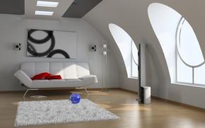 Picture style, room, sofa, carpet, Windows, picture, speakers