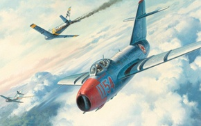 Picture war, art, painting, aviation, F-86 Sabre, Mig 15, Korea war