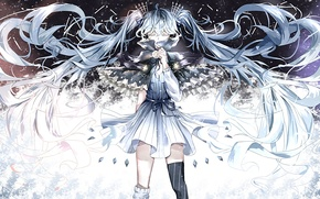Picture girl, hair, anime, art, crystals, vocaloid, hatsune miku
