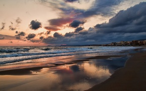 Picture sand, sea, the sky, clouds, sunset, clouds, shore, island, the evening, Greece, houses, town, resort, ...