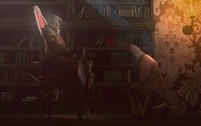 Picture light, books, candle, chair, library, assassins creed, assassins, concept art, concept-art, assassins