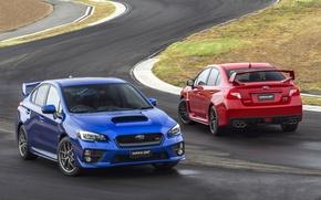 Picture blue, red, background, Subaru, Impreza, WRX, rear view, STI, Impreza, the front, The Sudaba