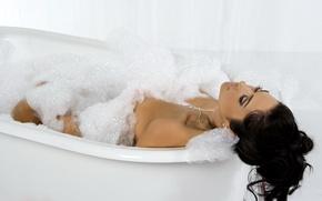 Picture foam, girl, hair, brunette, bathroom