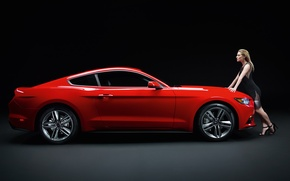 Picture red, Mustang, Ford, Mustang, profile, red, Sienna Miller, muscle car, Ford, muscle car, profile