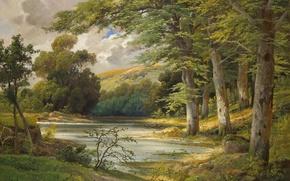 Wallpaper lake, boat, landscape, Romantic Forest Landscape, painting, Alois Arnegger, forest