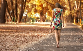 Picture Park, the beauty, gait, sandals, leaves, Daria Kuncikova, girl, patterns, young, Dasha, autumn, model, dress, ...