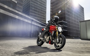 Picture city, red, Ducati, Monster, moto, road, bike, Legend, classic
