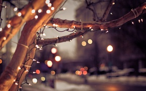 Picture winter, the city, lights, tree, mood, Christmas, Christmas, light bulb, tree, bokeh