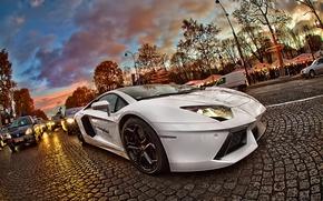 Picture machine, the city, street, Paris, lamborghini, aventador, Lamborghini, emendator