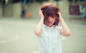 Picture girl, joy, smile, portrait, redhead, East